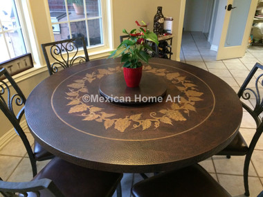 "Custom Copper Dining Table ""Celaya"" 54x2 with Motif for GH, Six Matching ""Celaya"" Dining Chairs Somber Patina with Antique Patina Motif seats 6 and a lazy susan"