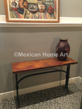 """Copper Console Table """"Zirahuen"""" for Bruce M Old Natural Patina"""