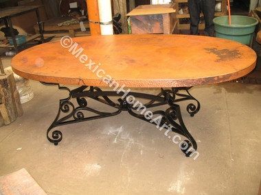 Custom Copper Table Oval 84x48 with Custom Hand Forged Iron Base for JC Old Natural patina