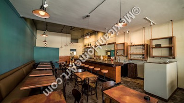 Copper Table Tops 30x30 at Poppy Hall Restaurant in California