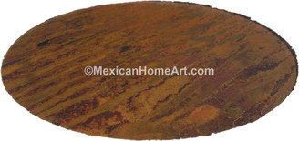 36 inch Old Natural Hammered UnWaxed Round Copper Table Top view from above