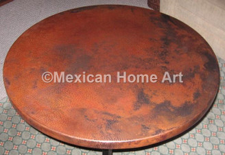 Copper Table Top Round 50 in Somber Patina
