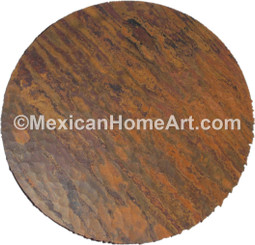 Copper Table Top Round 50 in waxed hammered new natural top view