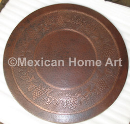 "Copper Table Top with ""Grape"" Design Motif hammered into Copper Top"