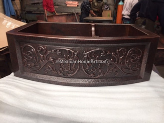 Rounded fron 60/40 farmhouse Copper Sink with standard Apron Front Motif somber patina