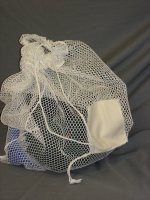 "BASIC Wash net with ID Tag and Draw cord Closure - White (15"" x 20"")"