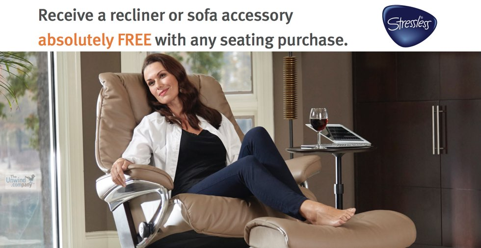 Get a Free Recliner or Sofa Accessory with Your Stressless Chair Purchase