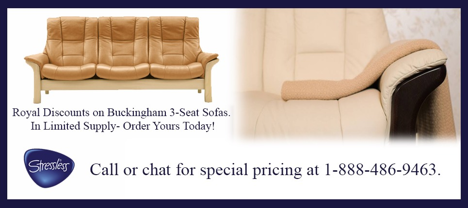 Enjoy Discount Sales Prices on the Stressless Buckingham Sofa- In Limited Supply Colors