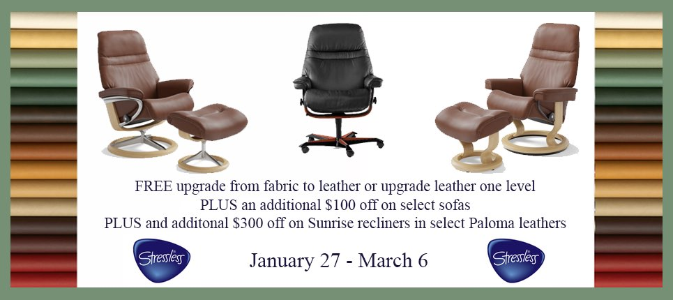 Ekornes Stressless Leather Upgrade Promotion is Going on Now at Unwind