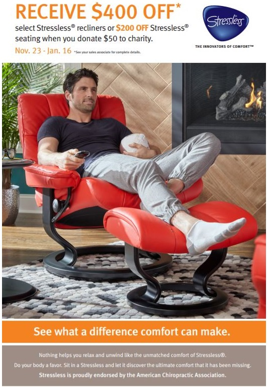 Save $400 on Stressless Mayfair Recliners and Office Chairs