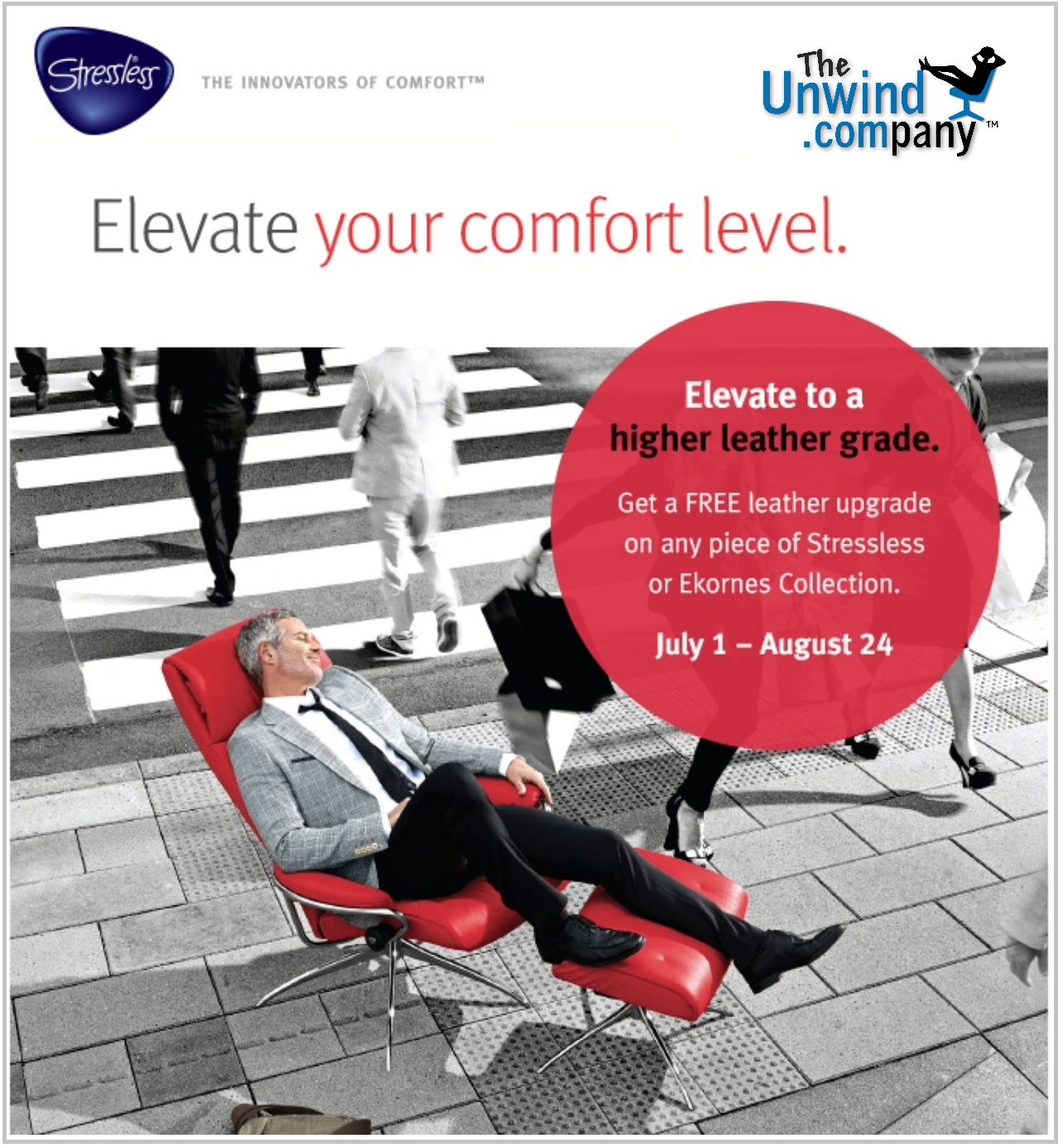 stress less with a free leather upgrade on all ekornes furniture