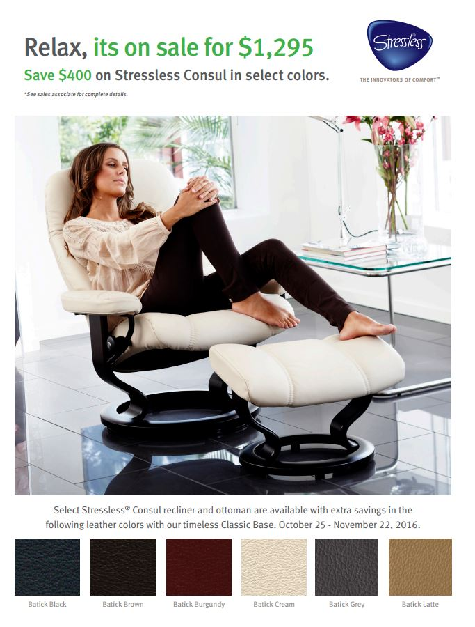 Save $400 on Select Colors in Batick Leather Consul Recliners.