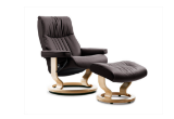 Stressless Crown Recliner with Ottoman- Classic Base