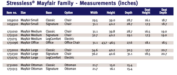 Stressless Mayfair Family Measurements