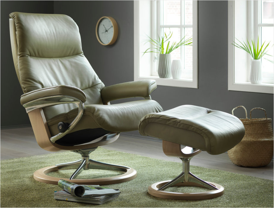 Stressless Signature Series View Recliner available at Unwind- Choose Olive Paloma Leather.