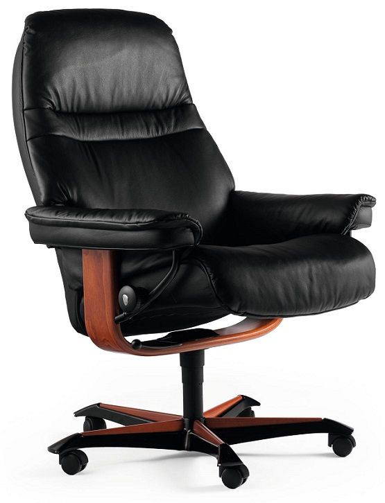 Sunrise Ekornes Office Chair- Black Paloma Leather