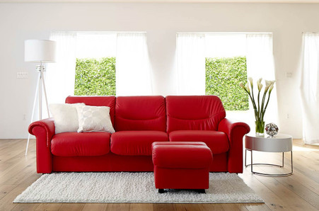 Ekornes Stressless Liberty Low-Back Sofa in New Tomato Paloma Leather.