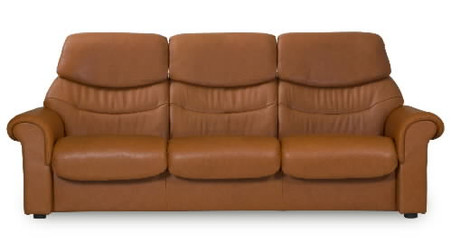 Stressless Liberty Highback 3 Seat Sofa shown in warm, Brandy Paloma leather.