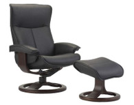 Fjords Recliner- Senator with R Base and Footstool- Black Soft Line Leather with Espresso Wood.