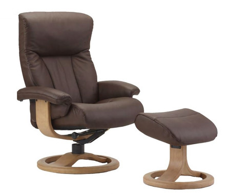 Fjords R Base Scandic Recliner with Ottoman- Cacao Soft Line Leather shown.