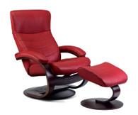 SL223 Cherry Soft Line Leather on this Fjords Trandal Recliner with C Base and Footstool.