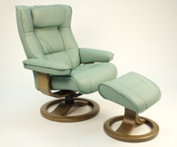 Fjords Regent Recliner- R Base with Teak Wood Shown- Seagreen Soft Line Leather.