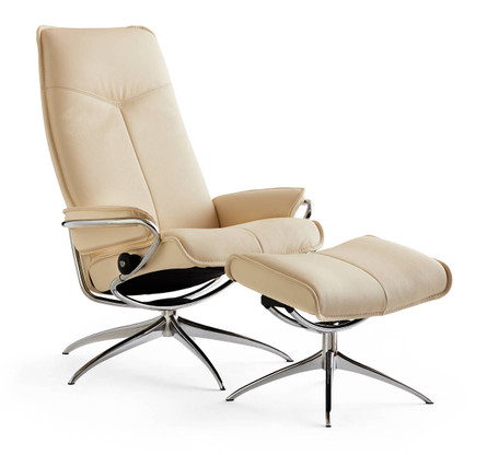 City Recliner Shown In Classic Vanilla Leather Option.