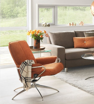 Stressless Metro Low Back with Standard Base- Orange Verona Fabric by Ekornes