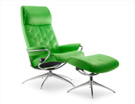 Stressless Metro High Back Recliner- New Summer Green Paloma Leather.