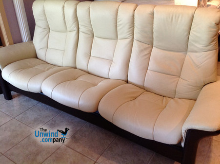 Authorized Price Reductions Available for Stressless Buckingham Sofa's and Loveseat's in Kitt Paloma with Walnut or Wenge Wood Stain. While Supplies Last!