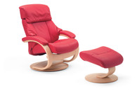 Ferrari Soft Line Leather shown on Voss Recliner & Ottoman.