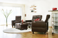 Chocolate Paloma leather looks great on this Stressless Home Theater Seat.