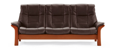 Cherry Wood shown on Brown Royalin Leather for the Buckingham High Back Sofa.
