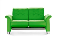 New Summer Green Paloma Leather on this Metropolitan Loveseat by Ekornes Stressless.