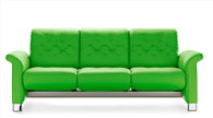 New Summer Green Paloma Grade Leather shown on the Stressless Metropolitan Sofa.