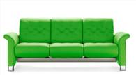 New Summer Green Paloma Grade Leather shown on the Stressless Metropolitan Sofa.