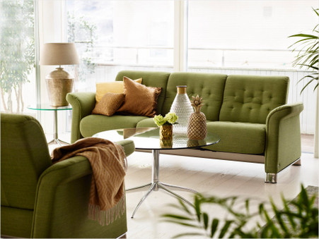 Stressless Metropolitan Sofa shown in fabric upholstery. Choose Unwind and Save the most.