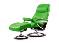 New Summer Green Paloma Leather on this Stressless View Recliner and ottoman.