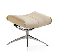 Ekornes City Recliner ottoman shown in Vanilla leather.