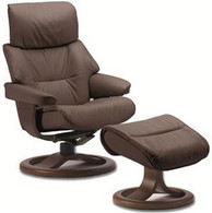 Large Leather Fjords Grip Recliner shown with Regular R Base.