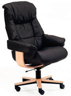 Fjords Loen SOHO Office Chair- Black Leather with bright natural wood color.