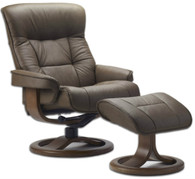 Fjords Bergen Recliner shown in Cappucino Nordic Line Leather.