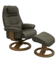 Fjords Admiral Recliner with R style Base- Ships Immediately in Ferrari Soft Line Leather.