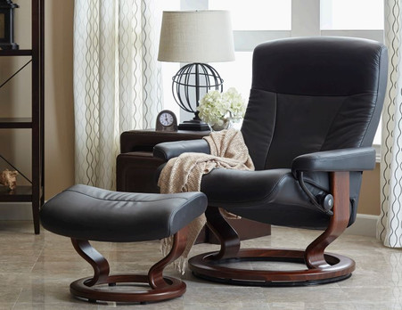 Large Ekornes Stressless President Recliner with Footstool- Best Prices at Unwind. & Ekornes Stressless President Large Recliner and Ottoman - Unwind.com islam-shia.org