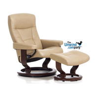 Large Stressless President Recliner ships quickly in Paloma Leather at Unwind.