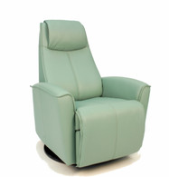 Fjords Urban Swing Relaxer Recliner shown in SL 265 Seagreen Soft Line Leather.