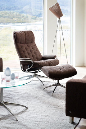 Stressless Metro High Back Recliner shown in Brown Fabric Option.