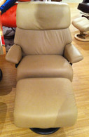 Large Stressless Spirit Ekornes Recliner- Sand Paloma Leather with Wenge Stained Wood.