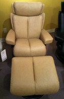 Small Magic Recliner- Stressless Discounted Clearance Model in Sand Paloma Leather.