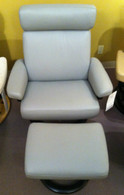 Stressless Taurus Recliner with Footstool- Pearl Grey Paloma Leather with Wenge Wood